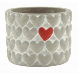 """Cement Container with Hearts - 3.5"""""""