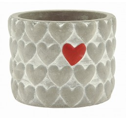 Cement Container with Hearts - 3.5""