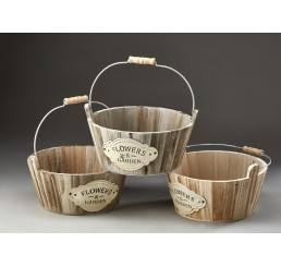 Round Wooden Containers with Metal Drop Handles and Metal Accent Plates