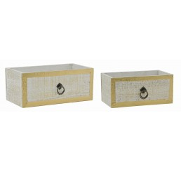 White Wash & Gold Set/2 Wooden Drawer