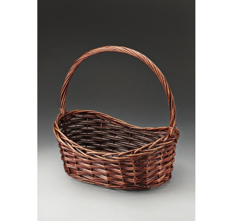 Brown Stain Oval Willow Single Basket