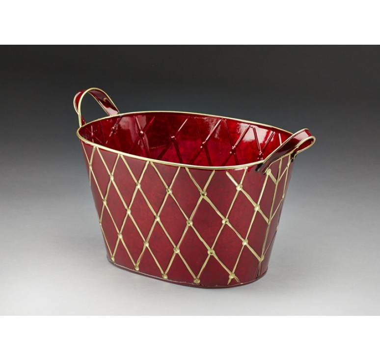Burgundy with Gold Metal Pail