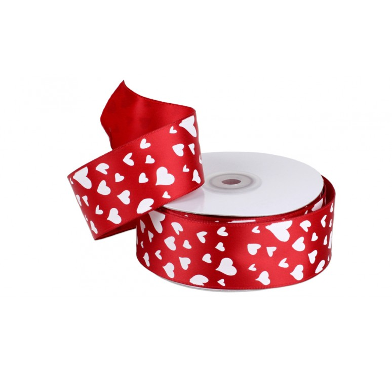 Red Satin Ribbon with Hearts