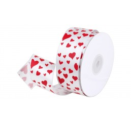 White Satin Ribbon with Hearts