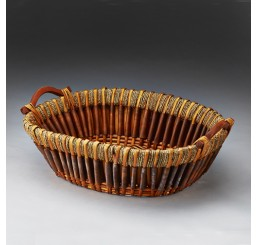 Willow, Woodchip and Rope Tray with Wooden Ear Handles