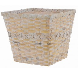 White Washed Faux Rattan Square Planter - Fits 8""