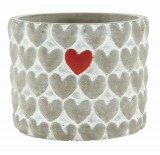 """Cement Container with Hearts - 4"""""""
