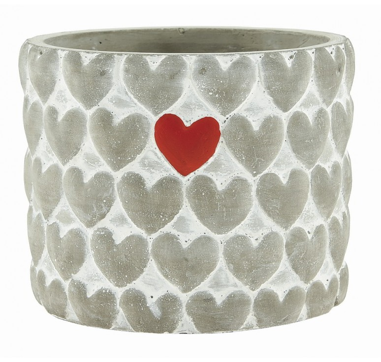 Cement Container with Hearts - 4""