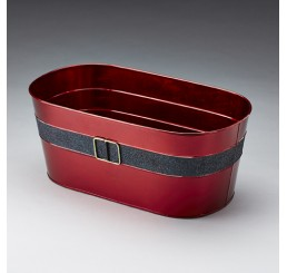 Oval Burgundy Metal Pail with Belt and Bucket Design