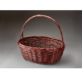 Oval Willow Single Basket - Brown Stain