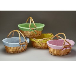 Oval Willow w/Asst Color Fabric Lining and Double Drop-Down Handles