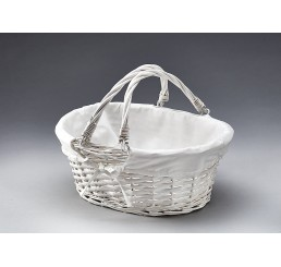 Willow Basket with Drop Handles - Painted White