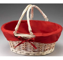 Willow with Drop Handle and Red Fabric Lining