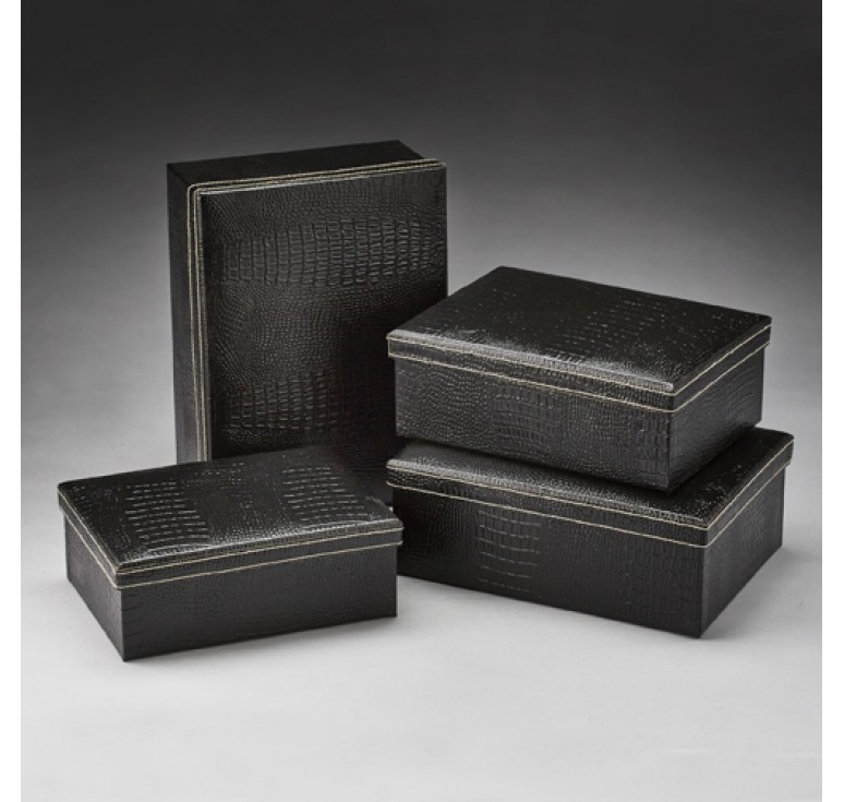 Set of 4 Faux Crocodile Design Corrugated Box