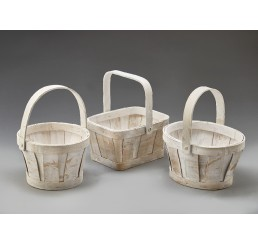 White Washed Woodchip Baskets
