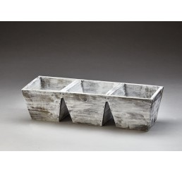 White Washed 3 Compartment Wooden Container