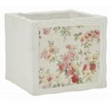 """Floral Design Cement Cube - 4.75"""""""