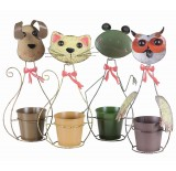 Four Assorted Metal Animal Planters