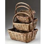 Brown Stain Rectangular Willow Set/3