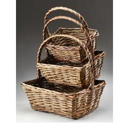 Brown Stain Rectangular Willow Set/3