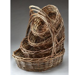 Oval, Unpeeled Willow Set/4