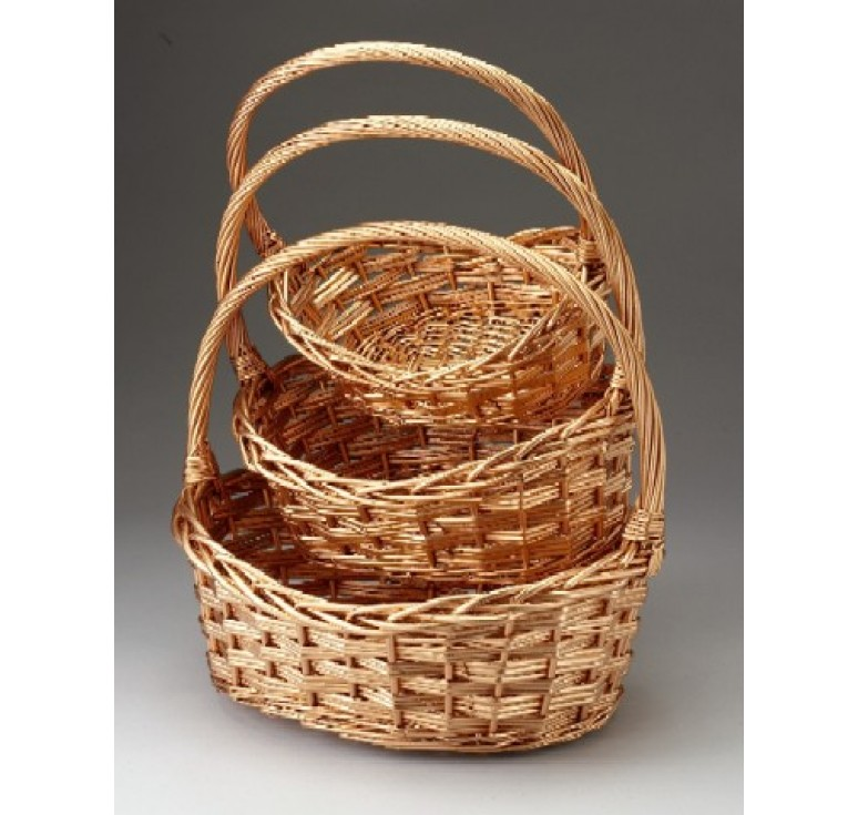 Set/3 Oval Willow Baskets