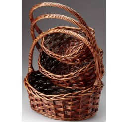 Set/3 Brown Stain Oval Willow