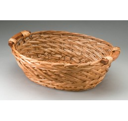 Brown Stain Oval Split Willow Tray with Wooden Ear Handles