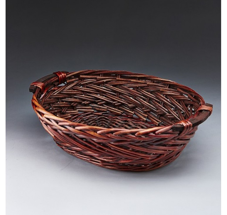 Brown Stain Oval Willow Tray with Wooden Ear Handles