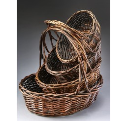 Brown Stain Oval Willow Set/4 **Low Inventory