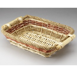 Rectangular Willow and Rope Tray with Wooden Ear Handles