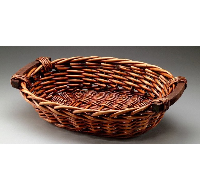Oval Willow Tray w/Wooden Ear Handles; Brown Stain
