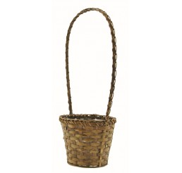 Brown Stain Bamboo Basket w/High Handle