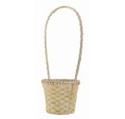 White Wash Bamboo Basket w/High Handle