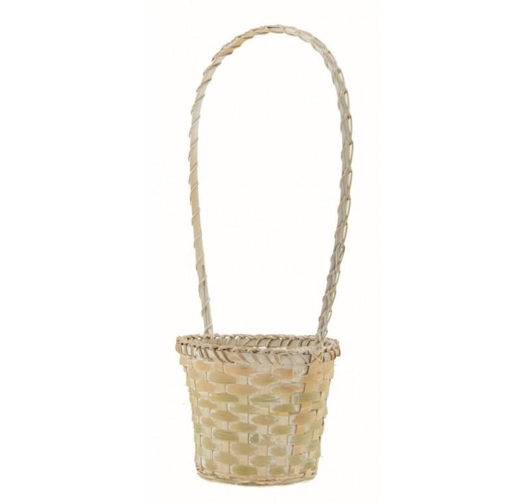White Wash Bamboo Basket w/High Handle