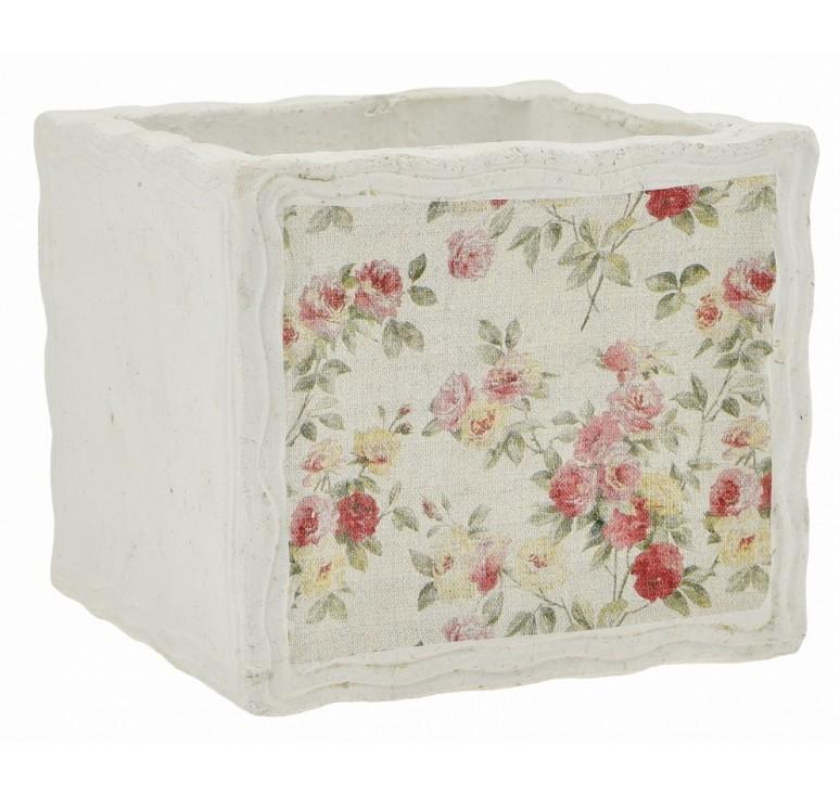 """Floral Design Cement Cube - 5"""""""