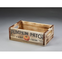 Wooden Crate with Pumpkin Patch Design