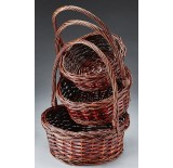 Brown Stain Round Willow Set/3