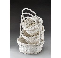 Round Willow Set/3 Painted White