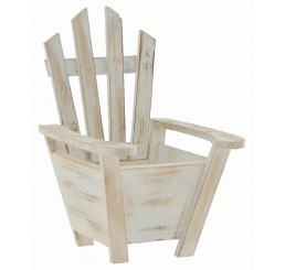 White Washed Wooden Chair Container