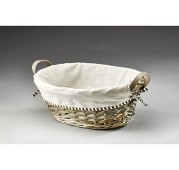 Oval Willow Tray w/Faux Leather Ear Hdls & Fabric Lining