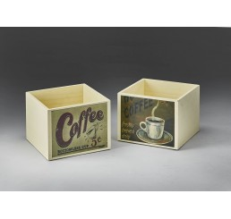 Wooden Cube w/Coffee Decal