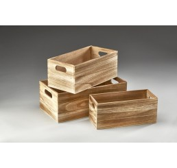 Set of 3 Rectangular Wooden Containers