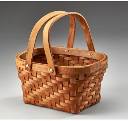Oval Woodchip Basket with Double Drop Handles