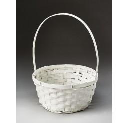 Rnd Bamboo Basket Painted White