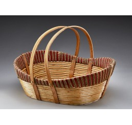 "22"" Willow, Wood, and Rope Oval Basket with Drop Handles"