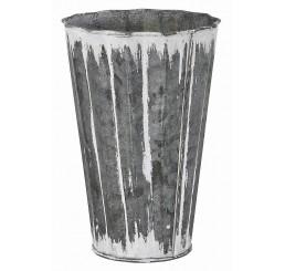 White Washed Galvanized Metal Flower Bucket
