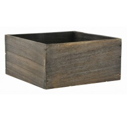 Brown Stain Square Wooden Container