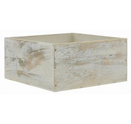 White Washed Square Wooden Container