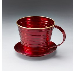 Burgundy Metal Cup with Attached Saucer